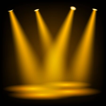 spot light: Golden spotlights shining background