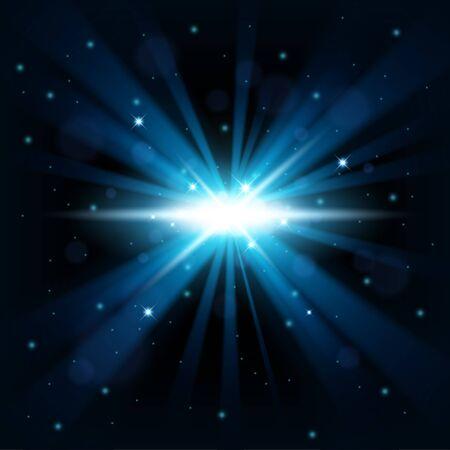 big bang: Blue big bang shine from darkness background