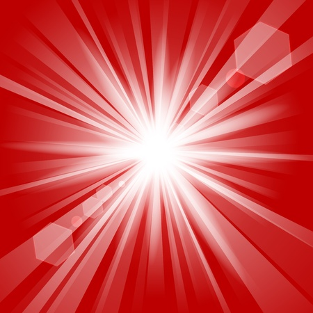 energy background: Red shine with lens flare background
