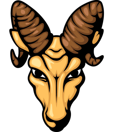 bighorn: Angry ram head mascot illustration Stock Photo