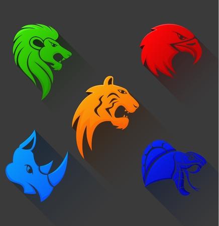 Wild Animal Head Tribal Symbol Flat Design Stock Photo