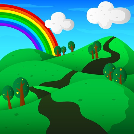 grasslands: hills with trees and rainbow landscape