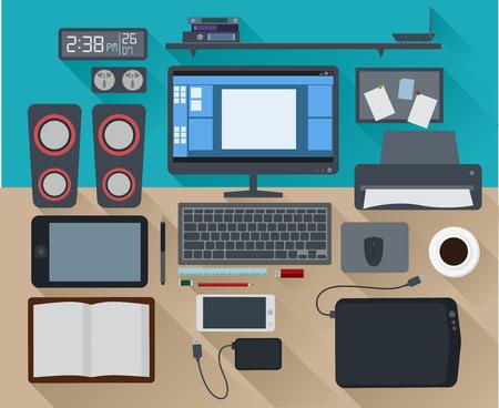 Modern Concept Creative Workspace Office Computer Flat Design