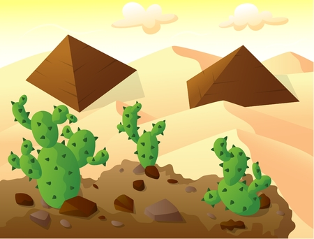 cactus on top of a hill, with two pyramids