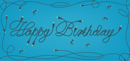 Happy Birthday USB Font Design