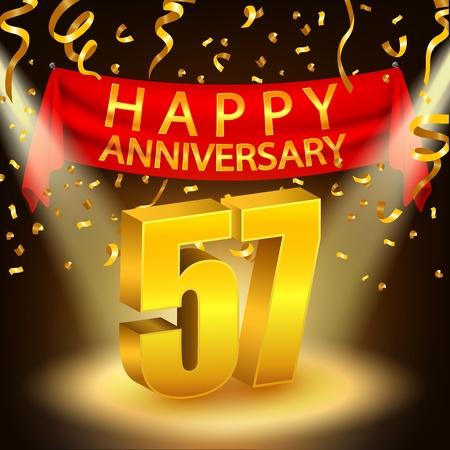 Happy 57th Anniversary celebration with golden confetti and spotlight Stock Photo