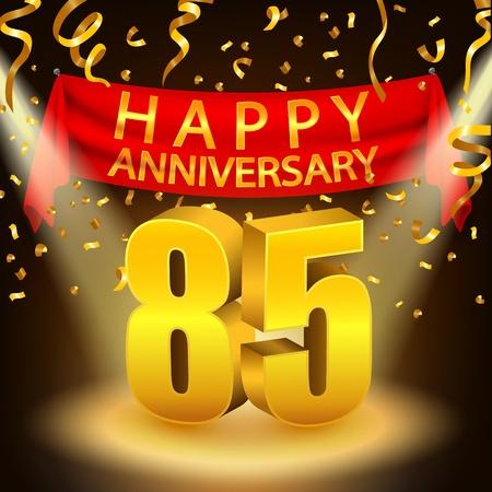 Happy 85th Anniversary celebration with golden confetti and spotlight Stock Photo