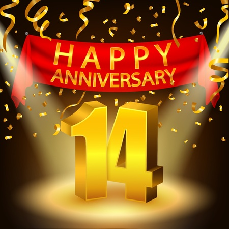 Happy 14th Anniversary celebration with golden confetti and spotlight