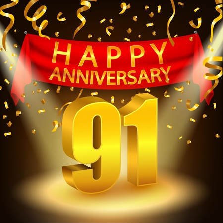 Happy 91th Birthday with chocolate cream cake and triangular flag