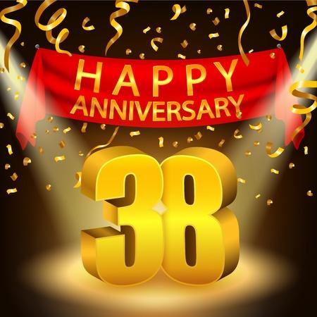Happy 38th Anniversary celebration with golden confetti and spotlight Stock Photo