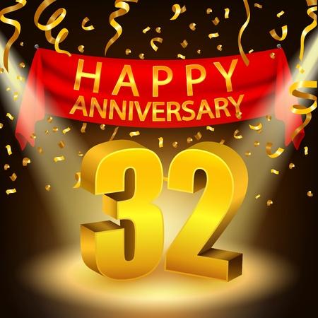 Happy 32th Anniversary celebration with golden confetti and spotlight