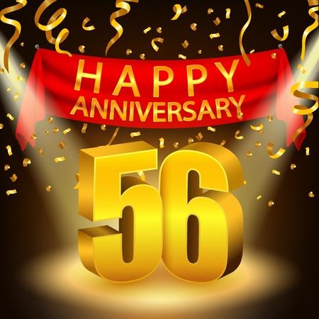 Happy 56th Anniversary celebration with golden confetti and spotlight