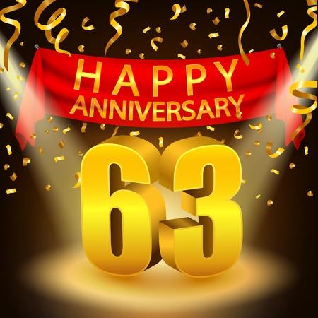 Happy 6th Anniversary celebration with golden confetti and spotlight