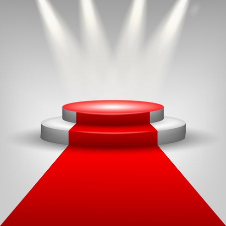 Red carpet to podium stage with spotlights Stock Photo