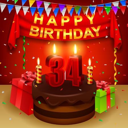 Happy 34th Birthday with chocolate cream cake and triangular flag Stock Photo