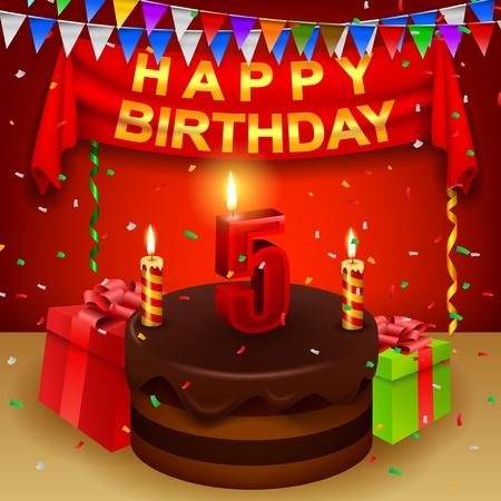 Happy 5th Birthday with chocolate cream cake and triangular flag
