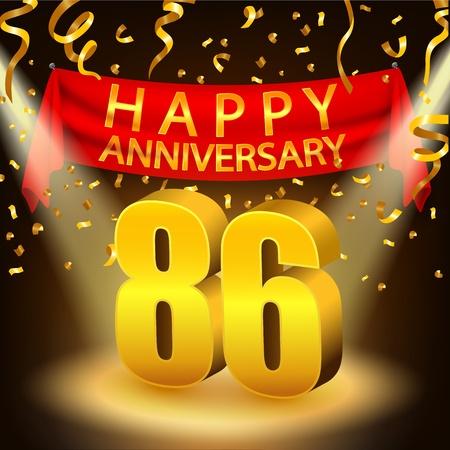 Happy 86th Anniversary celebration with golden confetti and spotlight Stock Photo