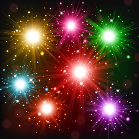 Colorful Fireworks scattered in the sky Stock Photo