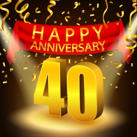 Happy 40th Anniversary celebration with golden confetti and spotlight