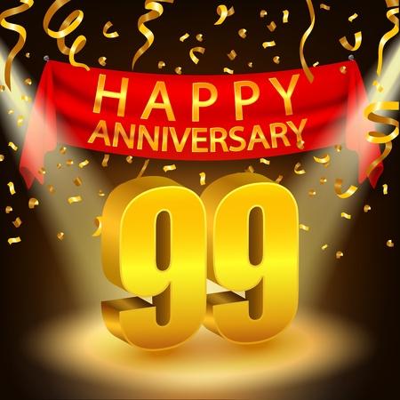 Happy 99th Anniversary celebration with golden confetti and spotlight Stock Photo