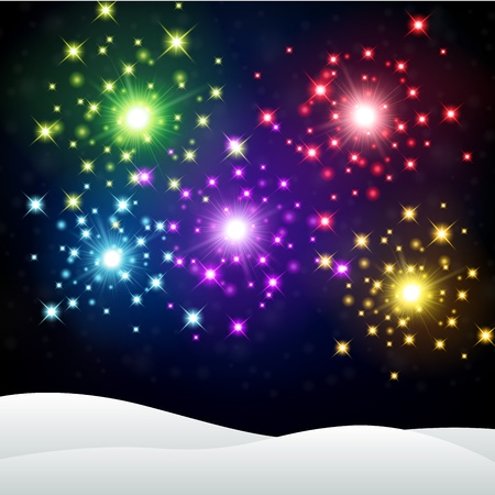 Colorful Firework in winter night background Stockfoto