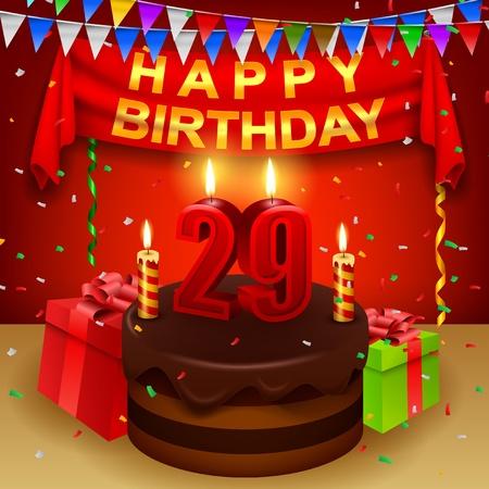 Happy 29th Birthday with chocolate cream cake and triangular flag