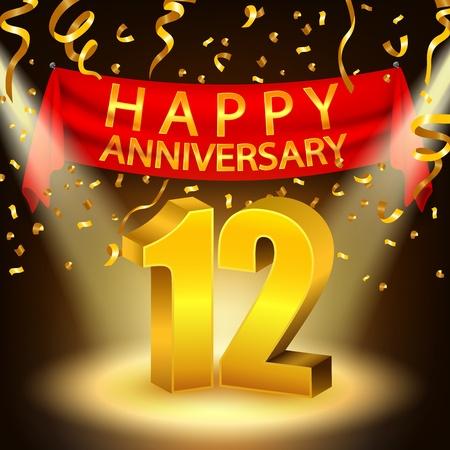 Happy 12th Anniversary celebration with golden confetti and spotlight