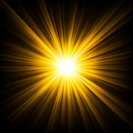 Gold light shining from darkness Vector illustration