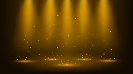 Gold schijnwerpers die met glitters 16: 9-beeldverhouding