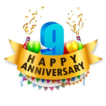 Happy 9th Anniversary Celebration Illustration