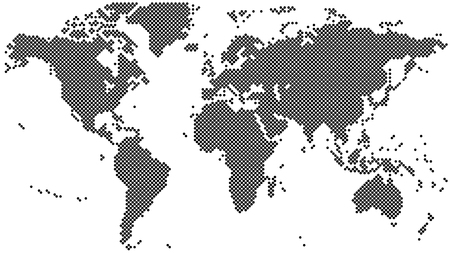 Black halftone world map vector illustration
