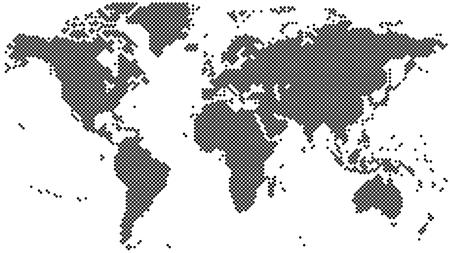 Black halftone world map vector illustration