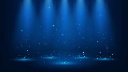 Blue spotlights shining with sparkles 16:9 Aspect Ratio Vector Illustration