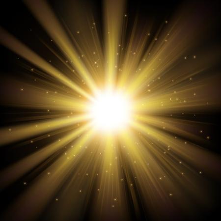 golden light: Golden light shining from darkness background Illustration