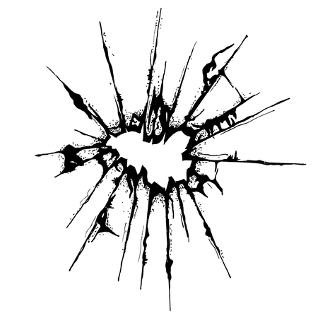 sabotage: Broken glass grunge textured with white background, tracing from sketch, Vector Illustration