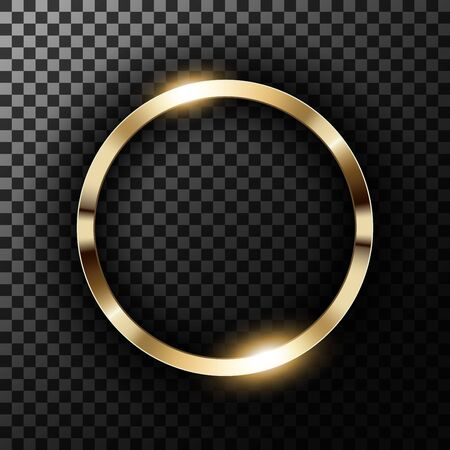 Metallic gold ring on transparent textured vector illustration Vectores