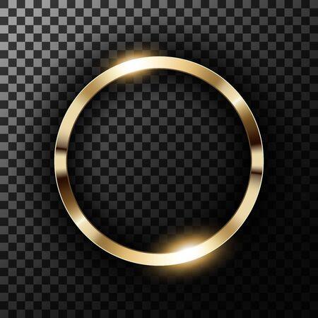 Metallic gold ring on transparent textured vector illustration Illustration