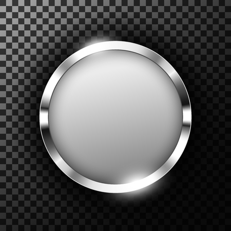 Metallic chrome ring with text space on transparent textured vector illustration Illustration