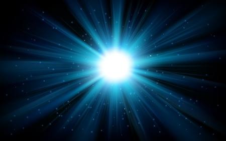 Blue light shining from darkness Vector illustration Illustration