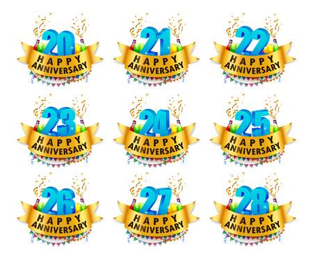 20 23 years: Happy Anniversary Celebration sets Vector Illustration