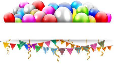 Ballons flottants et triangle banderoles avec espace de texte