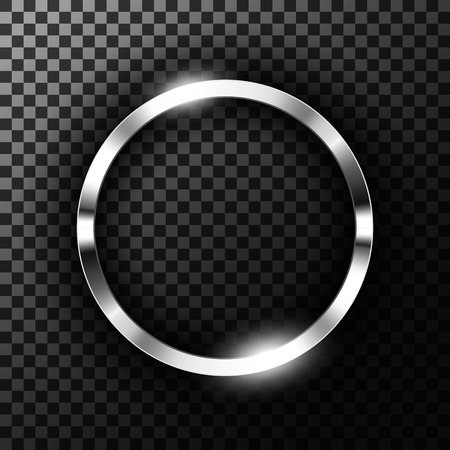 Metallic chrome ring on transparent textured vector illustration