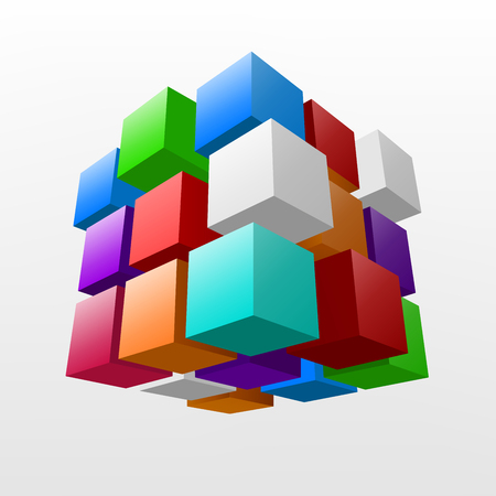 Abstract colorful piece of cube Vector Illustration  イラスト・ベクター素材