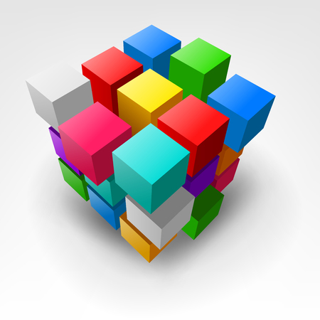 Abstract colorful piece of cube Vector Illustration Ilustração