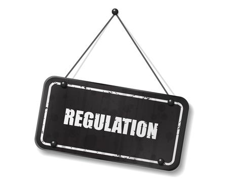 Vintage old black sign with Regulation text, Vector Illustration