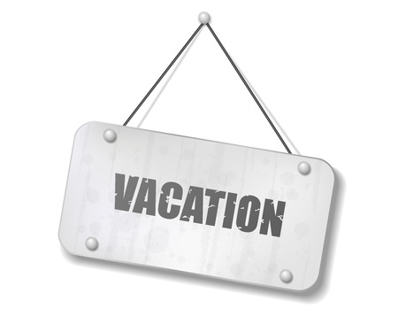 synopsis: Vintage old chrome sign with Vacation text, Vector Illustration