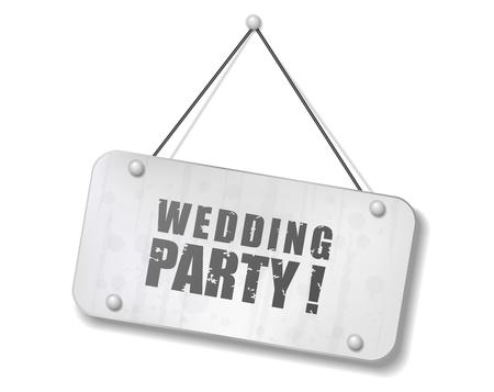 Vintage old chrome sign with Wedding Party text, Vector Illustration Ilustração