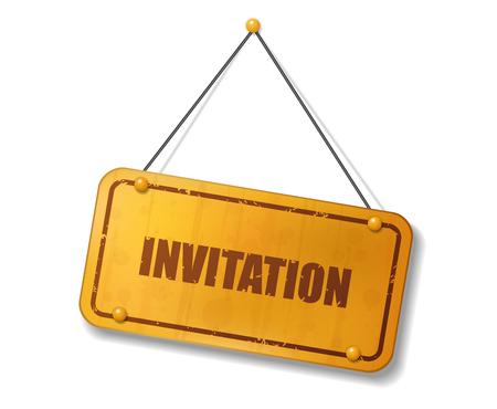 Vintage old gold sign with Invitation text, Vector Illustration Illustration