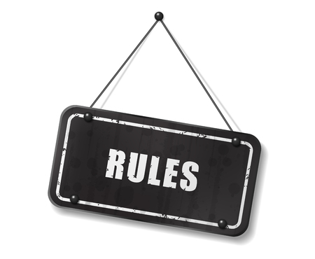 synopsis: Vintage old black sign with Rules text, Vector Illustration