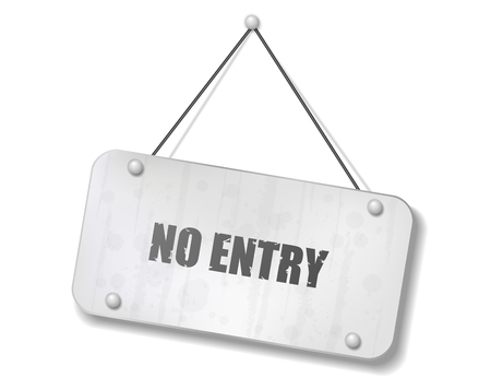 Vintage old chrome sign with No Entry text, Vector Illustration